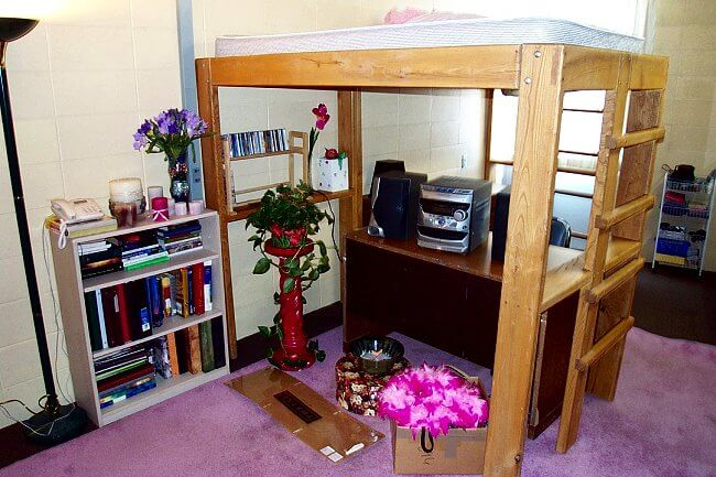 college dorm room loft bed plans