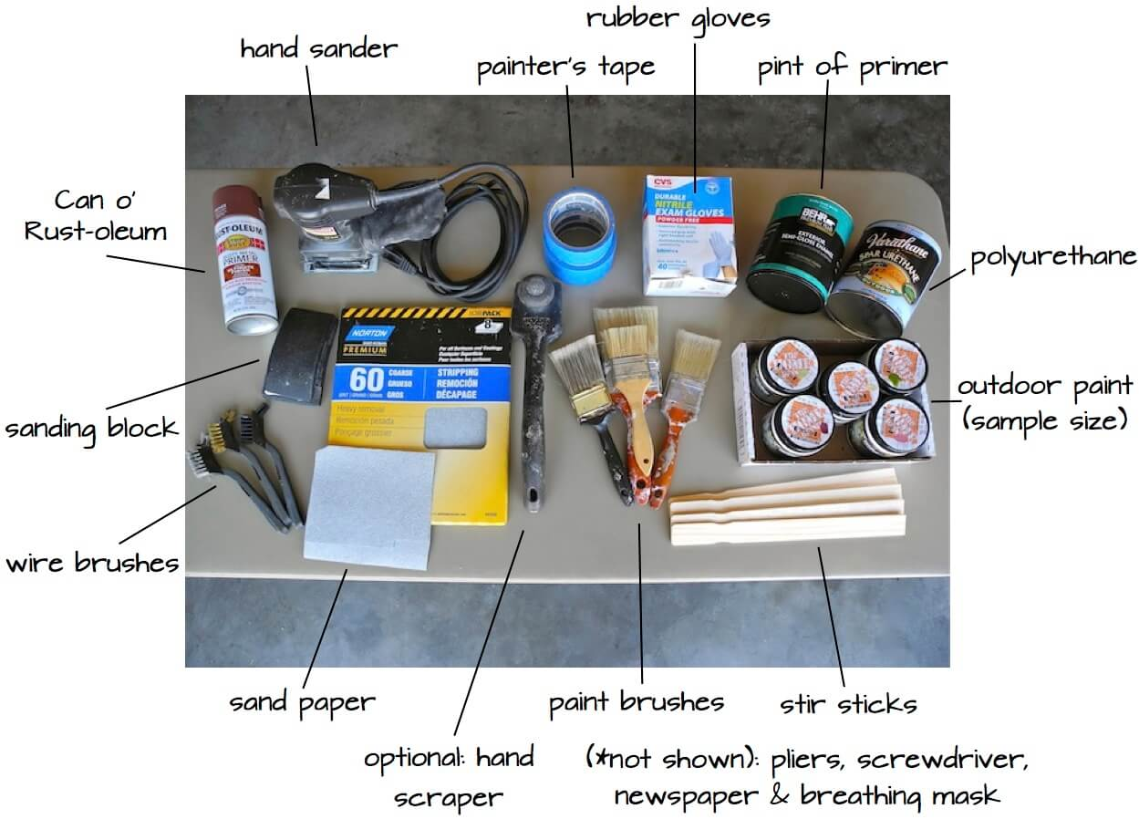 Rehabbed park bench supplies