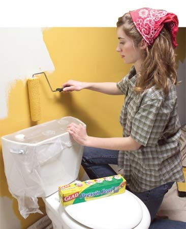 Use Glad Press 'n Seal plastic wrap on toilets