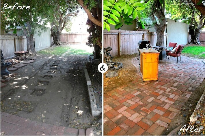 Before and after brick paved patio