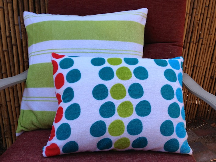Finished beach towel pillows