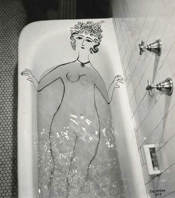 Hand drawn gallery girlbath by Saul Steinberg