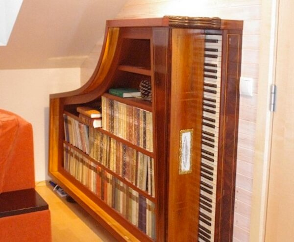 Repurposed Piano Bookshelf