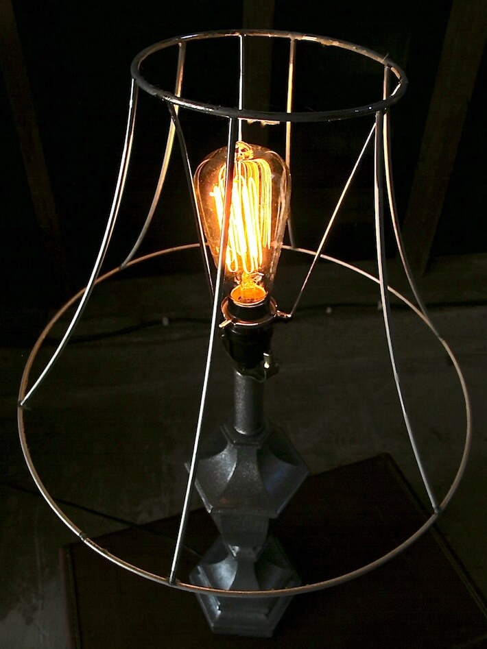 The Edison light bulb is the major feature of this industrial glam lamp