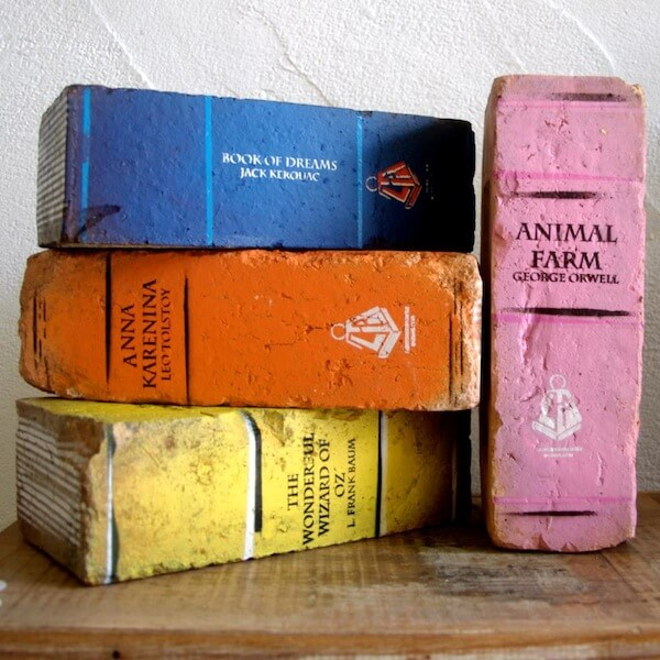 Brick books with worn paper detail
