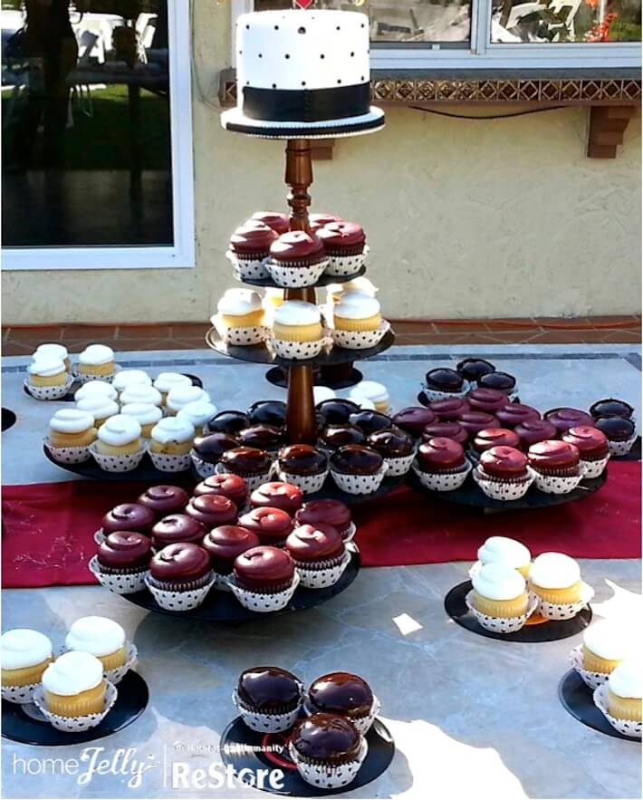 How To Repurpose Victor Records Into A Glam Cupcake Stand