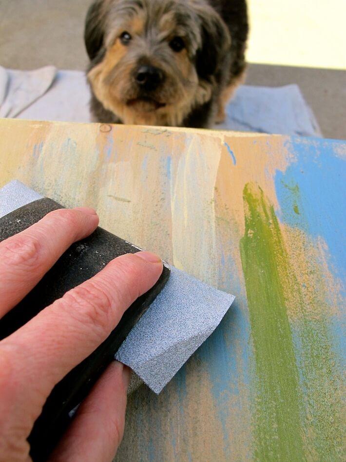 Begin sanding using a fine grade sand paper