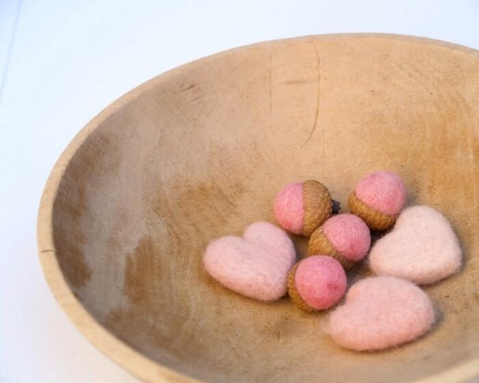 Pink felt hearts and acorns