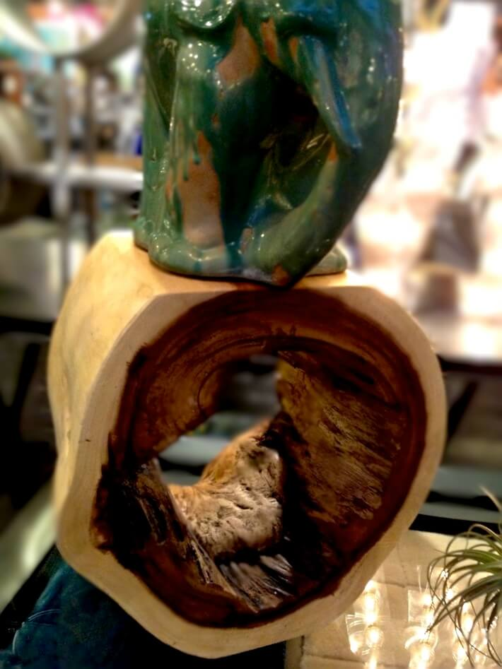 Hollowed stump art piece
