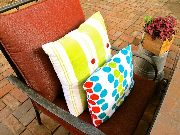 Spruced up patio furniture and pillows