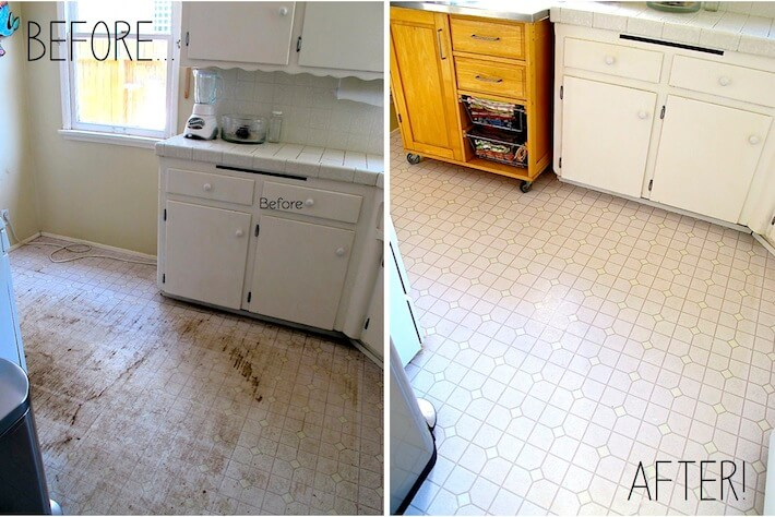 Kitchen floor before & after