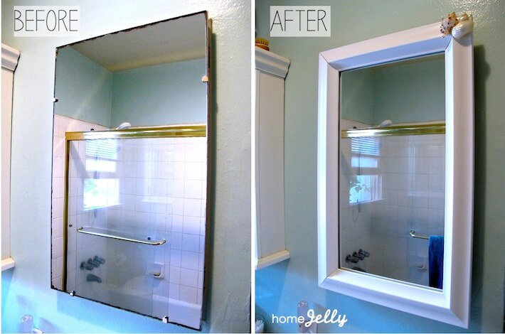 Bathroom mirror before & after