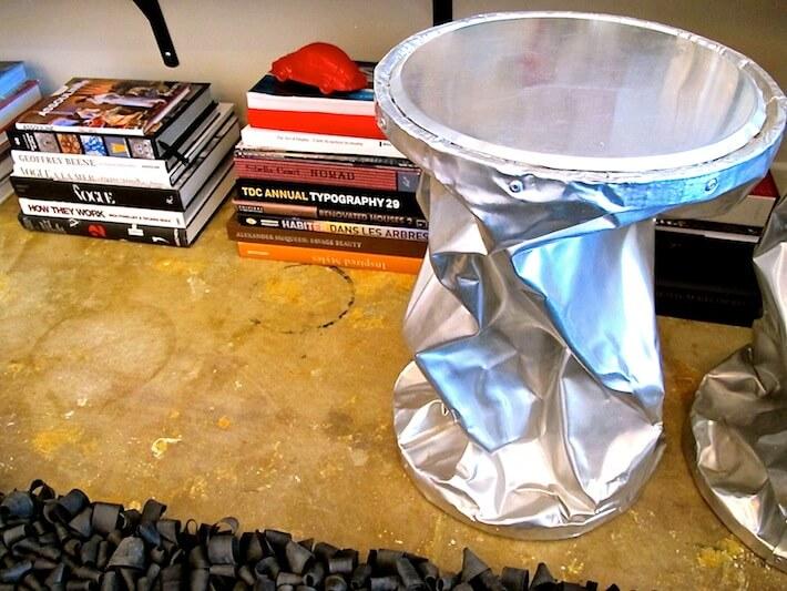 Crushed metal stool