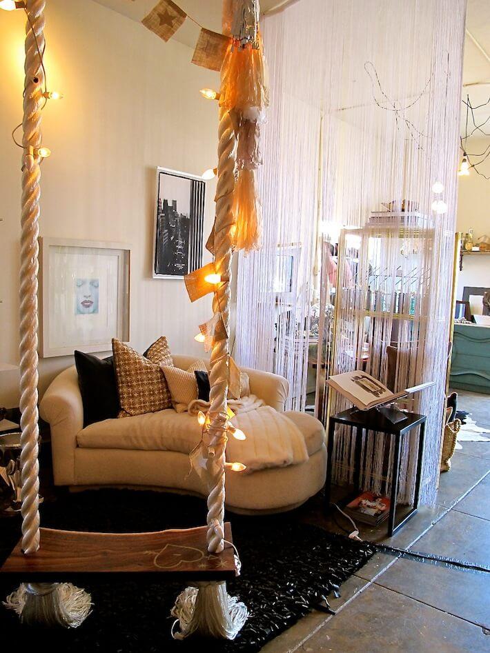 Studio with indoor swing.