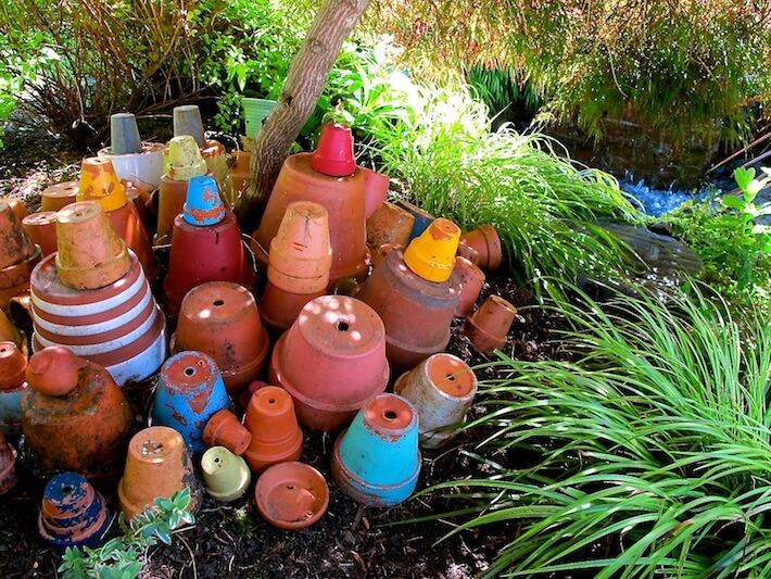 Terracotta pots in place of flowers!