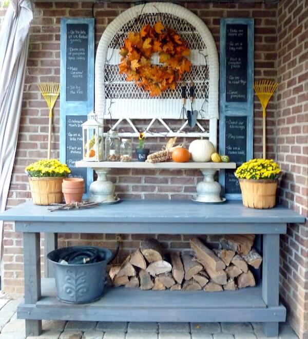 Repurposed autumn time display