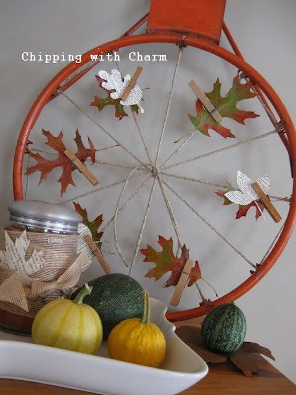Repurposed basketball hoop wreath