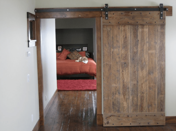 Flat track clear coat bedroom barn door-Top photo
