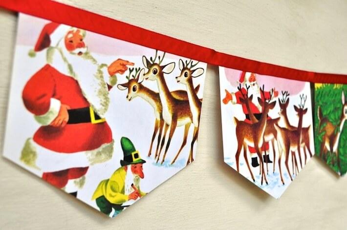 Vintage Santa greeting card banner