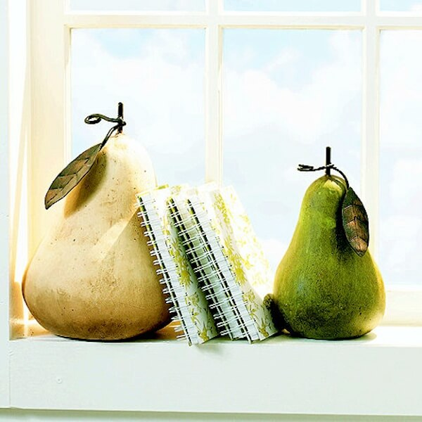 Terracotta pear bookends