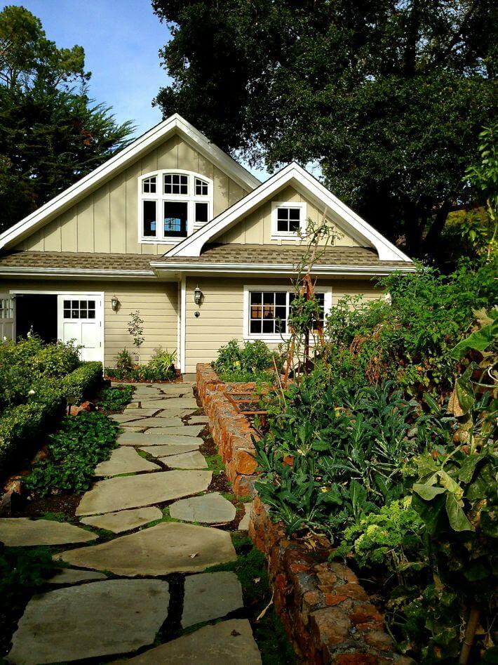 Garden with pathway to garage and workroom...love.