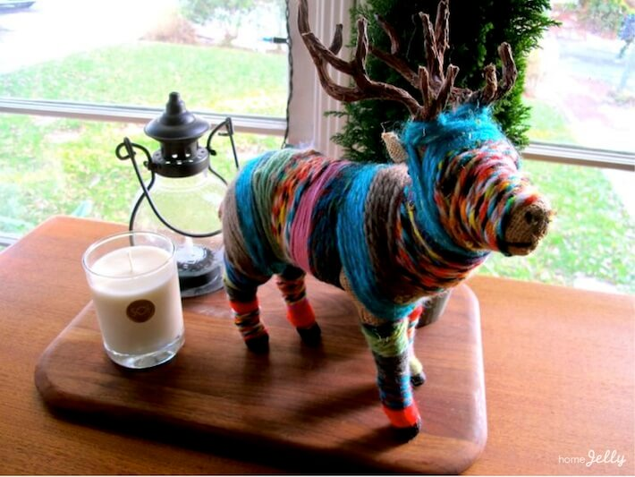 Finished yarn wrapped animal statue...no glue required!