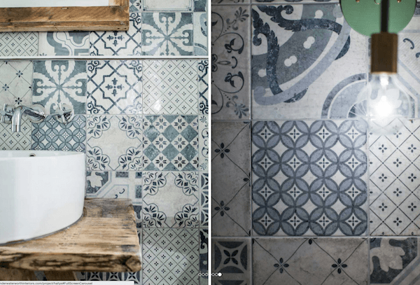 Moroccan tile walls offer eclectic interest