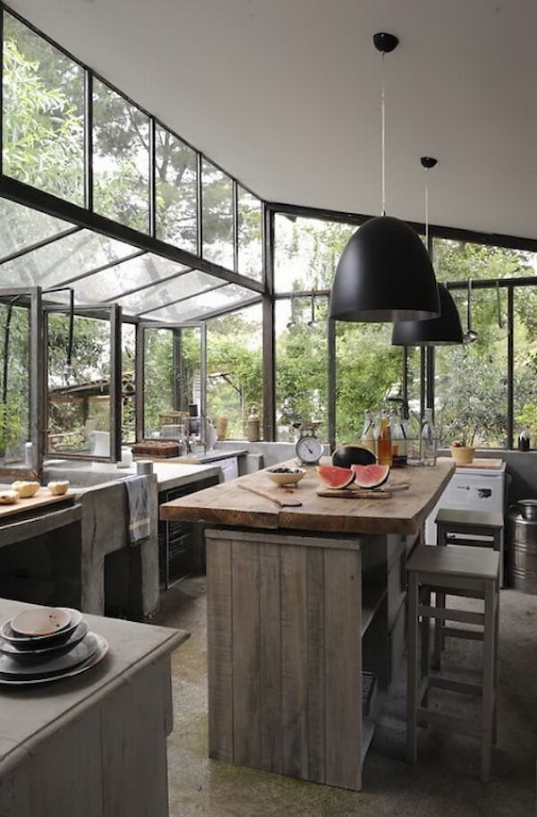 Kitchen with a spectacular garden view
