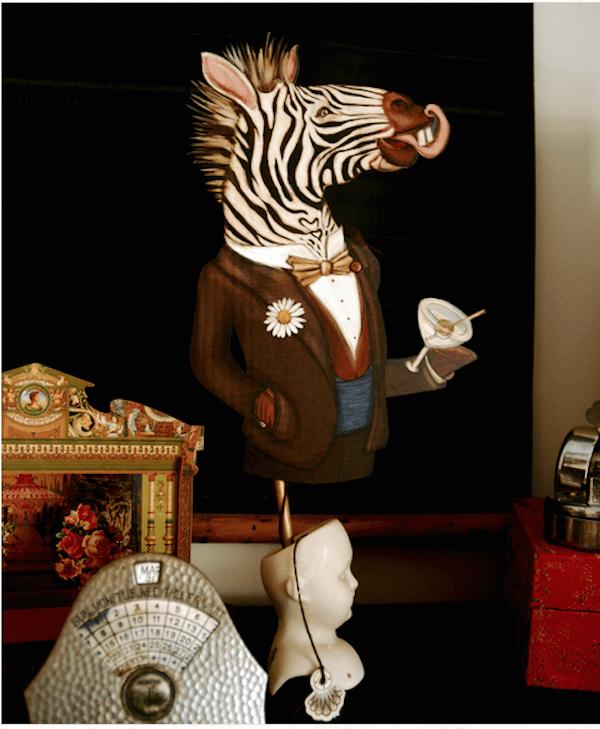 Festive Zebra Drinking Martini Paper Puppet