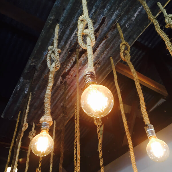Industrial lights at Prospect in Paia, Maui, gots me all tied up in knots!