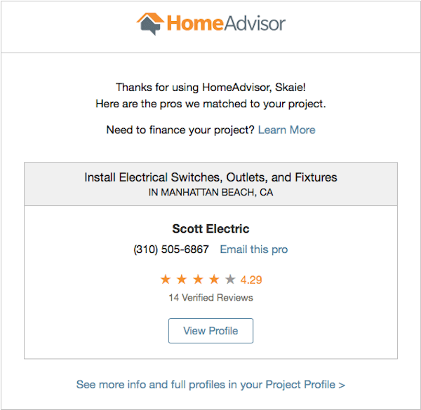 Email confirmation highligting closest pro