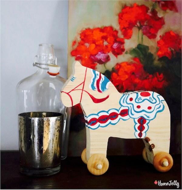 Swedish Dala Horse on wheels is delightfully decorative