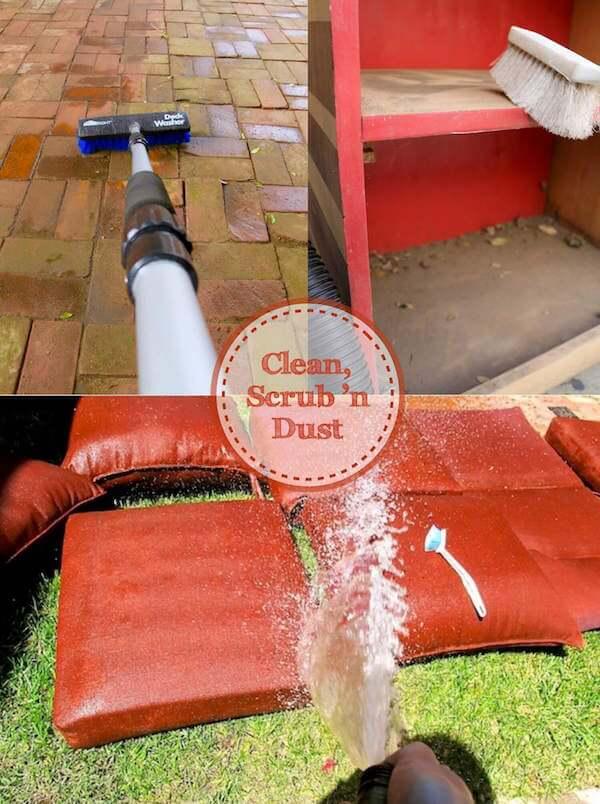 Clean, Scrub 'n Dust patio furniture