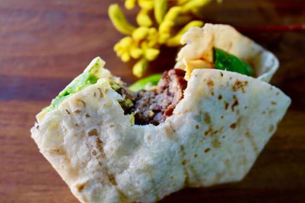 """Wrapped Sonora Burger in a tortilla """"bun"""" - Yum!"""