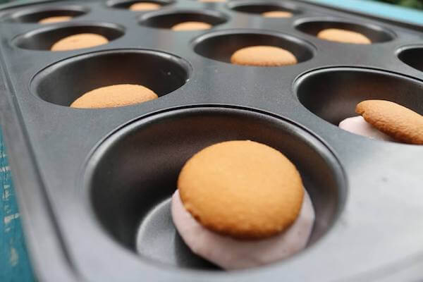 Place wafers in tin to assemble