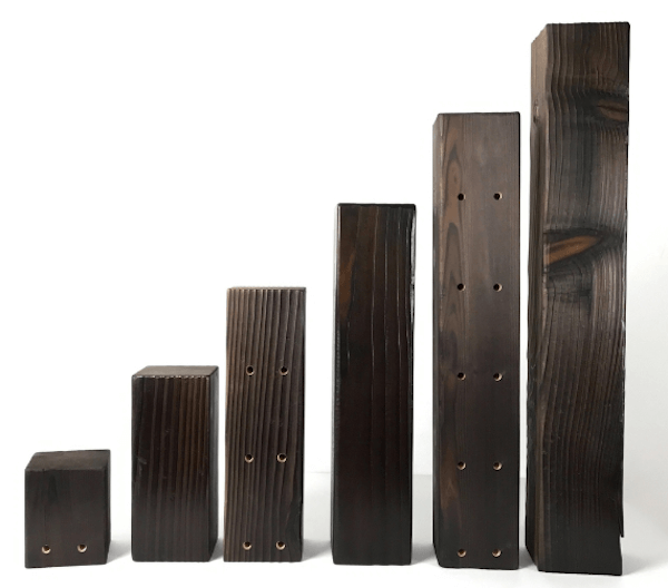 The Shou Sugi Ban wine rack can be customized to these dimensions