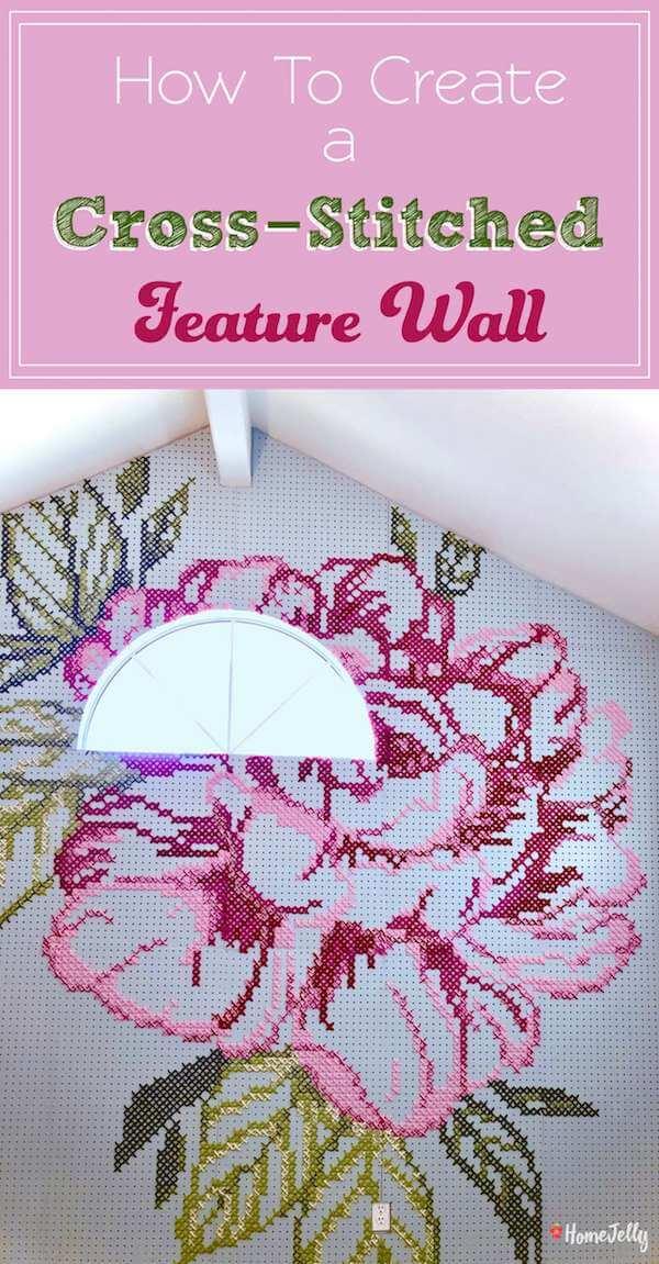 cross-stitch feature wall
