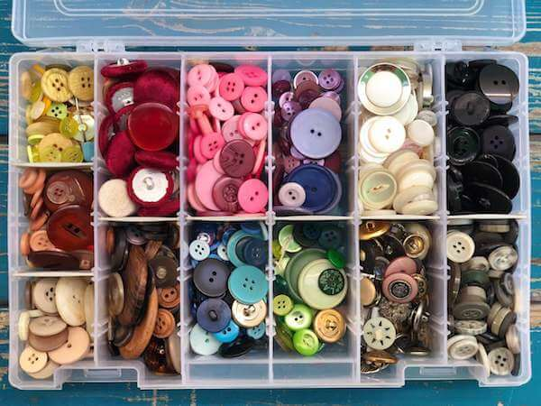 Buttons organized by color make crafting easy and fun