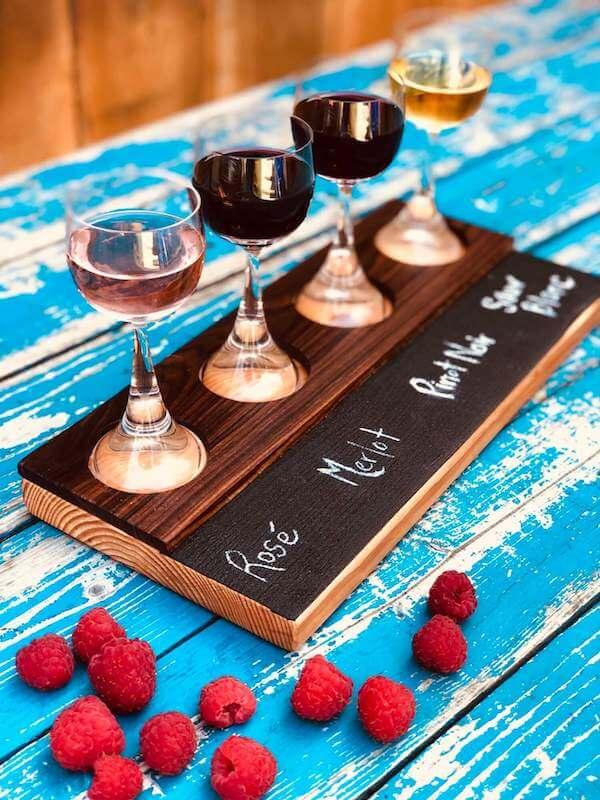 Wine flights wooden tasting tray