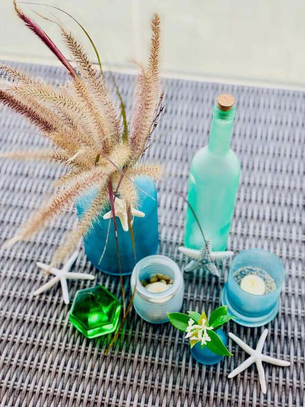 DIY Sea Glass bottles, votives and vases - top view
