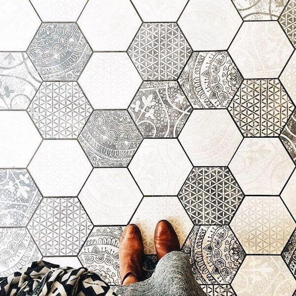 Ceramic hexagon tiles gone wild