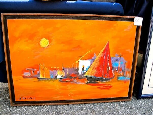 This tangerine sailboat regatta painting is just SO California