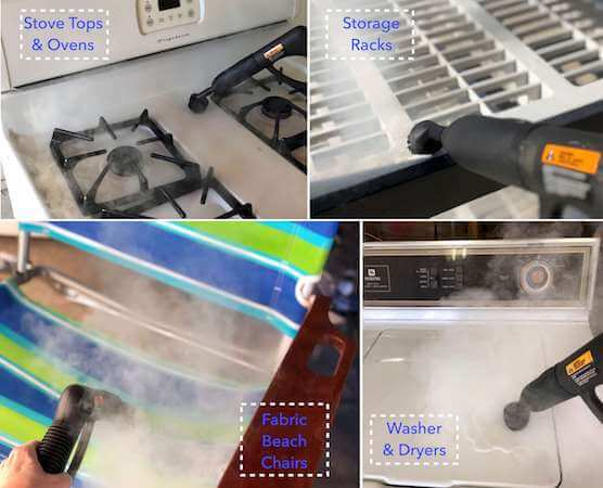 Steam clean all kinds of surfaces and items in your garage