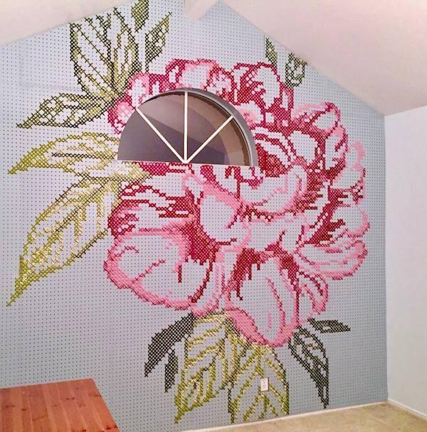 Finished cross-stitch wall