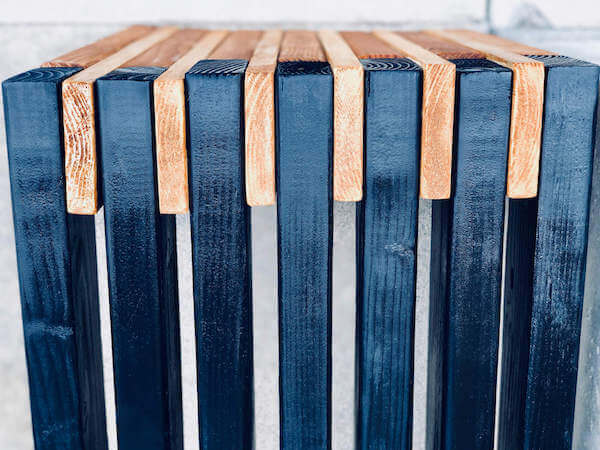 Top shot of sleek slatted bench