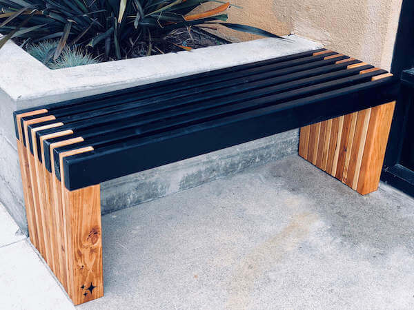 Pro-looking slatted bench
