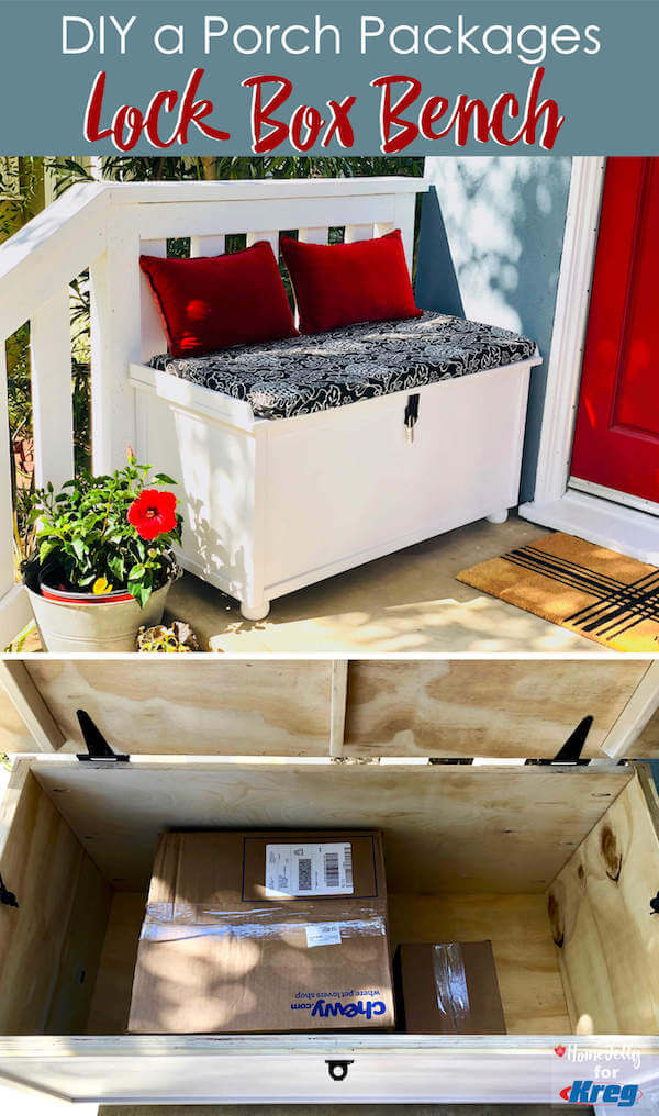 DIY a Porch Packages Lock Box Bench - Branded