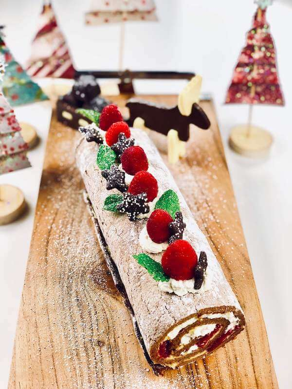 Finished Buche de Noel cake to delight your Christmas guests