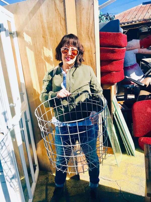 Skaie's found metal basket from Metropolis Salvage Shop in LA