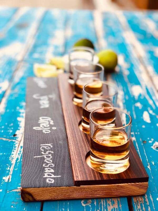 Tequila flights tasting tray